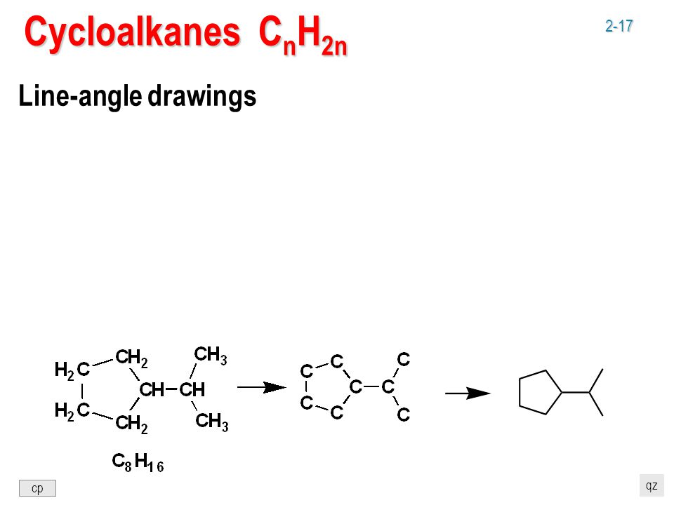 2-17 Cycloalkanes C n H 2n Line-angle drawings cp qz