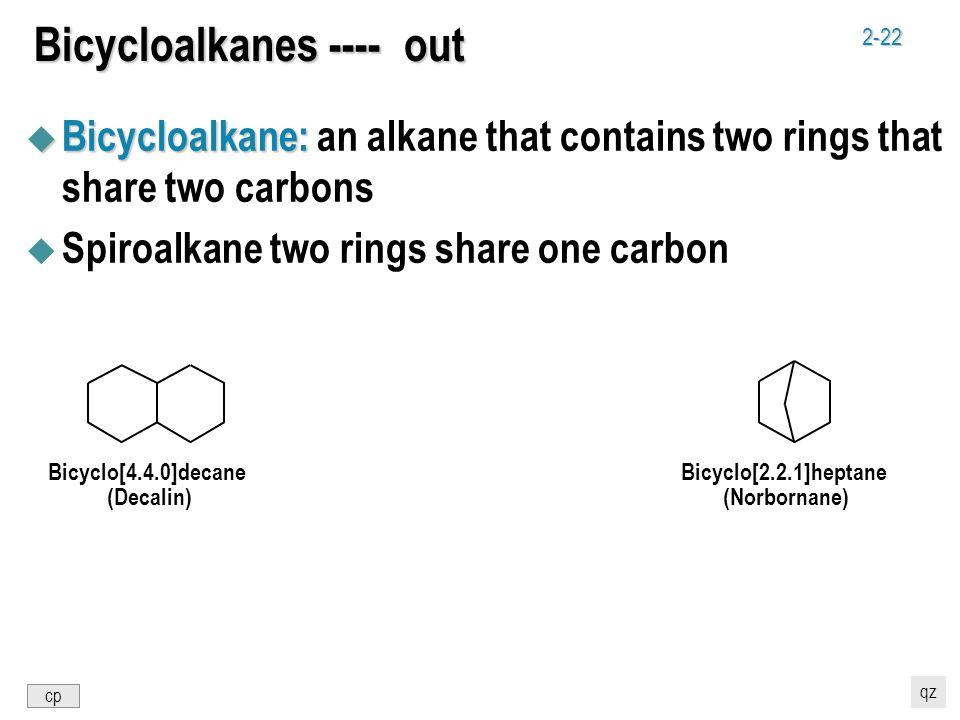 2-22 Bicycloalkanes ---- out u Bicycloalkane: u Bicycloalkane: an alkane that contains two rings that share two carbons u Spiroalkane two rings share
