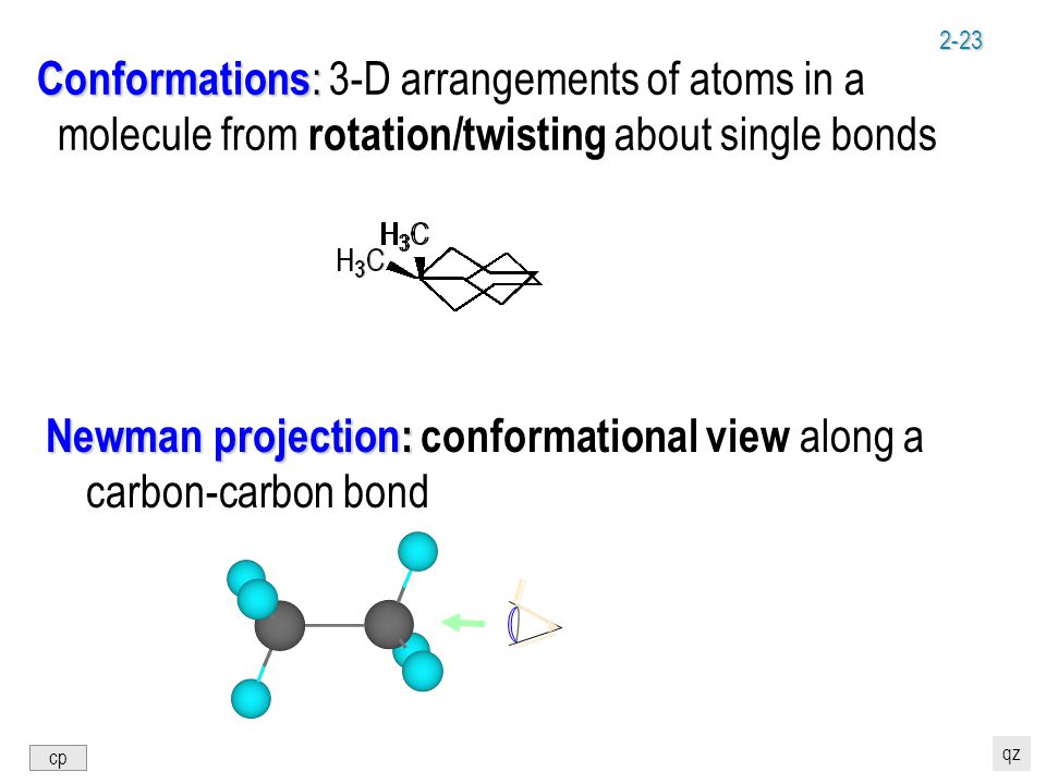 2-23 Conformations : Conformations : 3-D arrangements of atoms in a molecule from rotation/twisting about single bonds Newman projection: Newman projection: conformational view along a carbon-carbon bond cp qz