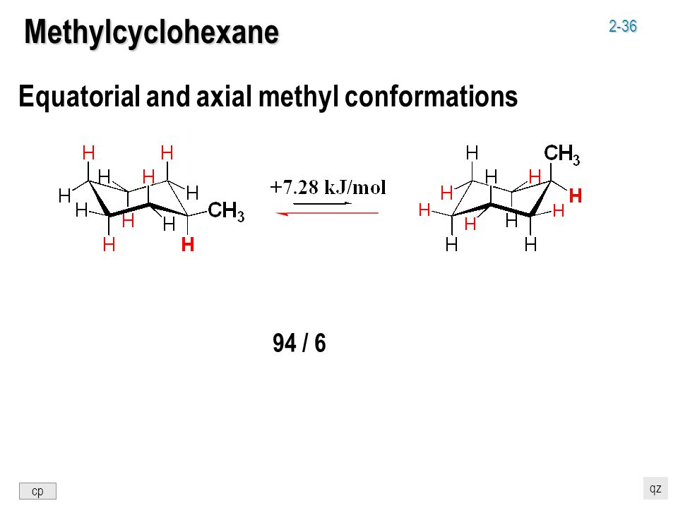 2-36 Equatorial and axial methyl conformations Methylcyclohexane 94 / 6 cp qz