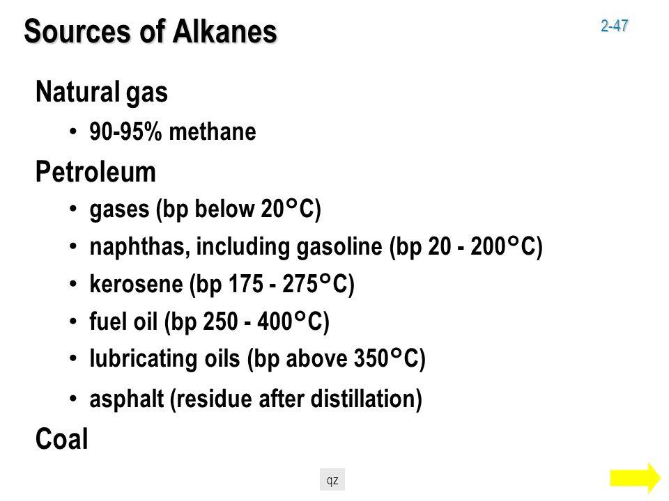 2-47 Sources of Alkanes Natural gas 90-95% methane Petroleum gases (bp below 20°C) naphthas, including gasoline (bp 20 - 200°C) kerosene (bp 175 - 275°C) fuel oil (bp 250 - 400°C) lubricating oils (bp above 350°C) asphalt (residue after distillation) Coal qz