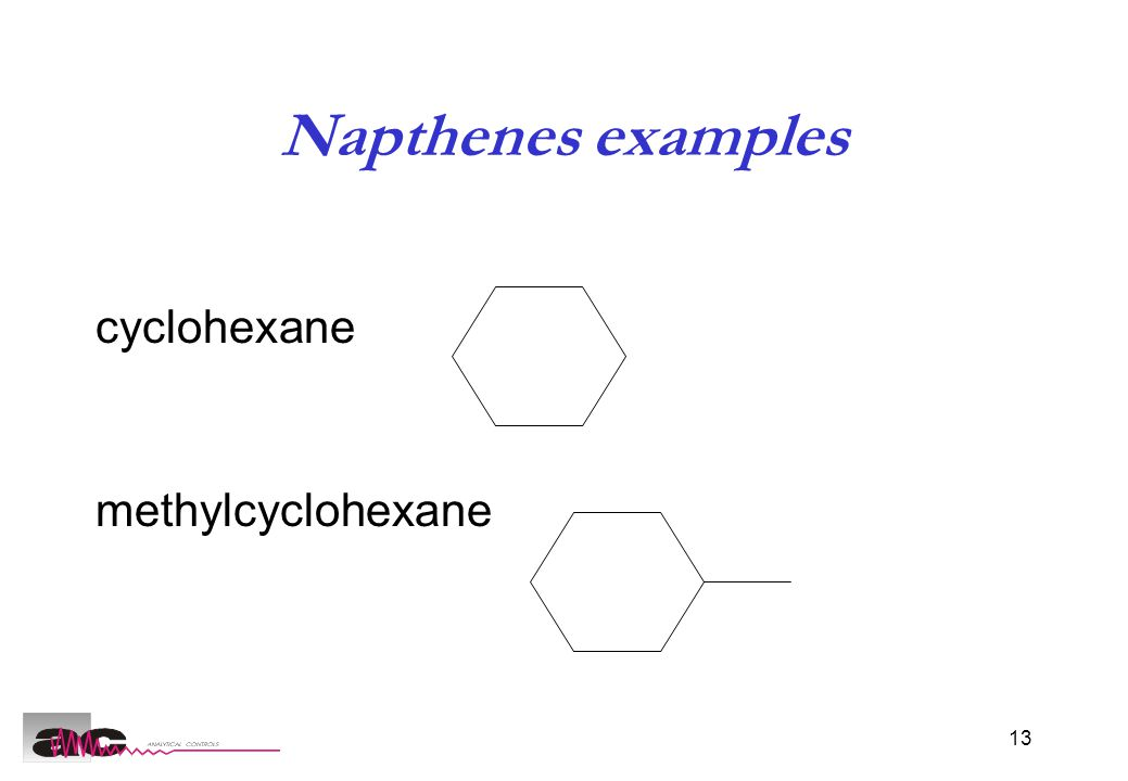 13 Napthenes examples cyclohexane methylcyclohexane