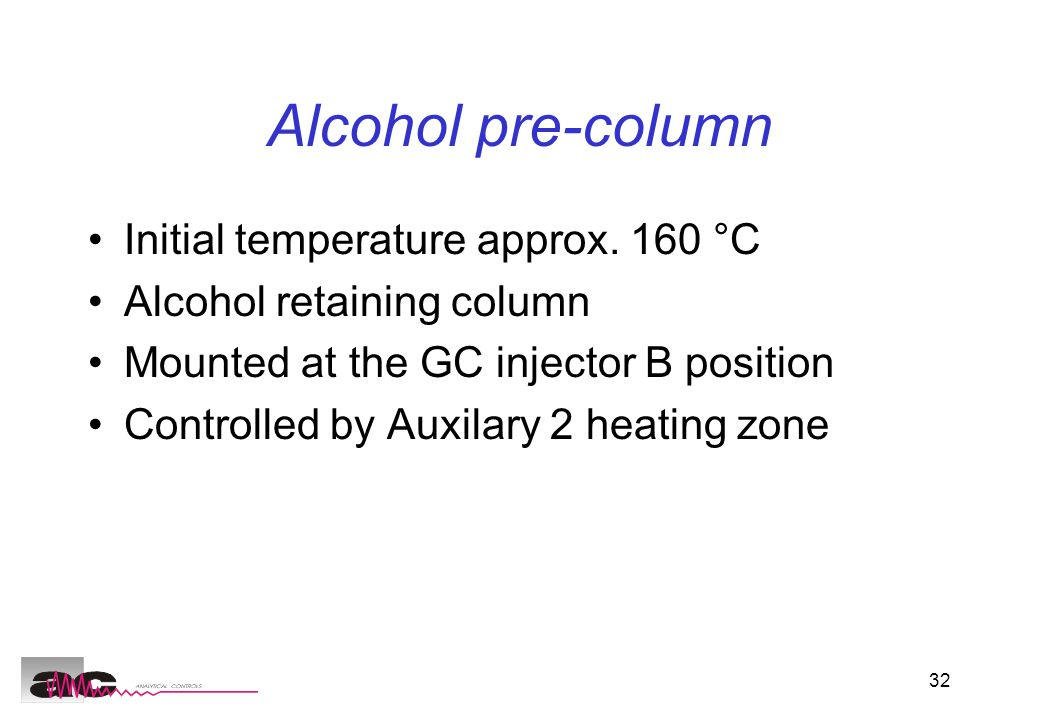 32 Alcohol pre-column Initial temperature approx.
