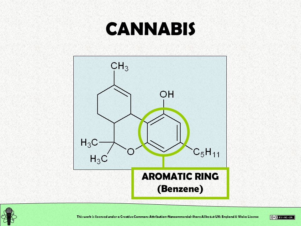 This work is licensed under a Creative Commons Attribution-Noncommercial-Share Alike 2.0 UK: England & Wales License CANNABIS AROMATIC RING (Benzene)