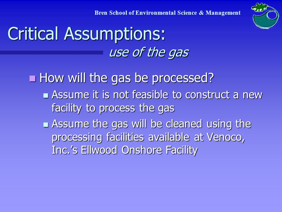 Critical Assumptions: use of the gas How will the gas be processed.