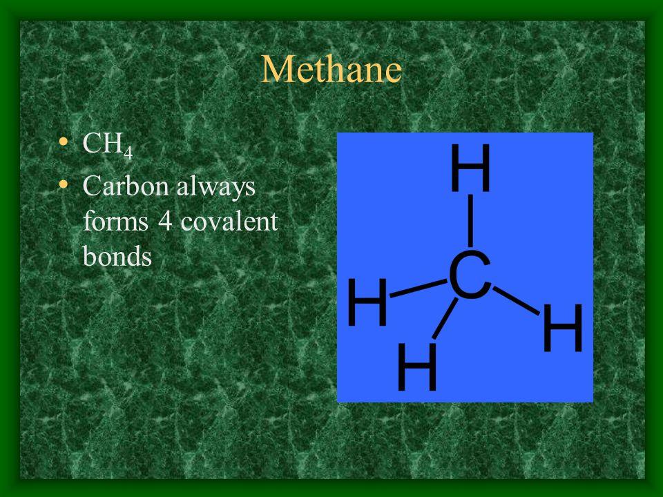CH 4 Carbon always forms 4 covalent bonds