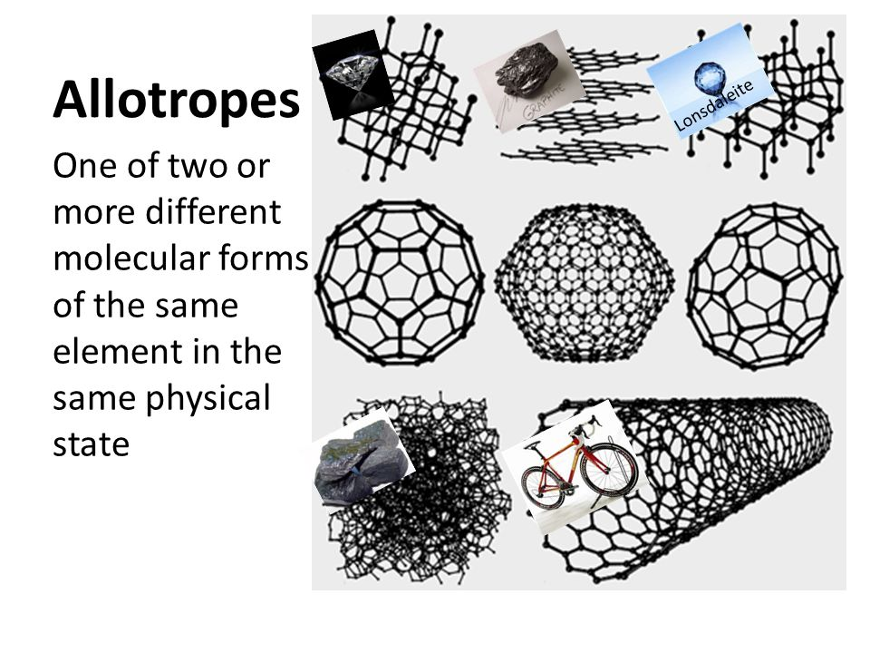 Allotropes One of two or more different molecular forms of the same element in the same physical state Lonsdaleite