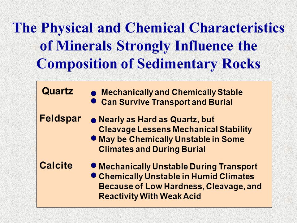 The Physical and Chemical Characteristics of Minerals Strongly Influence the Composition of Sedimentary Rocks Quartz Feldspar Calcite Mechanically and