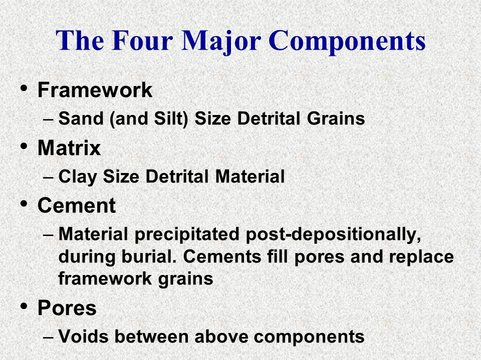The Four Major Components Framework –Sand (and Silt) Size Detrital Grains Matrix –Clay Size Detrital Material Cement –Material precipitated post-depos