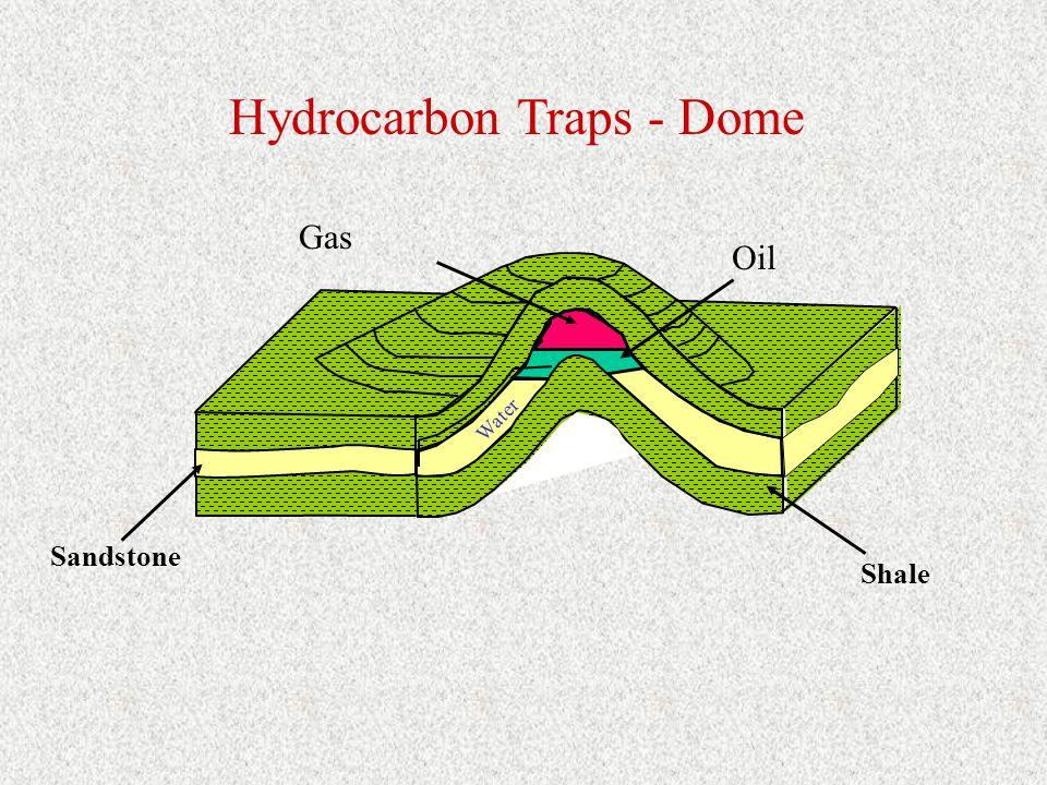 Oil Sandstone Shale Hydrocarbon Traps - Dome Gas Water