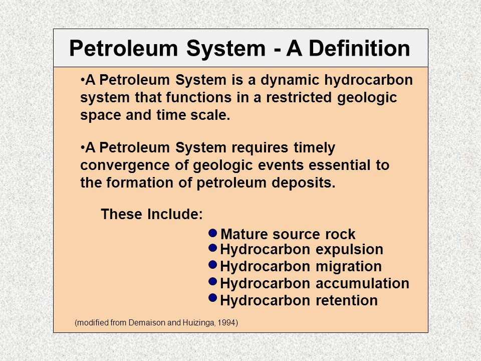 Petroleum System - A Definition A Petroleum System is a dynamic hydrocarbon system that functions in a restricted geologic space and time scale. A Pet