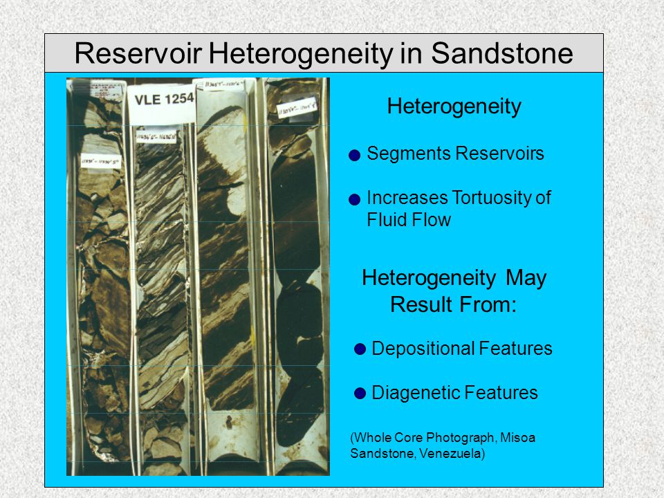 Reservoir Heterogeneity in Sandstone Heterogeneity May Result From: Depositional Features Diagenetic Features (Whole Core Photograph, Misoa Sandstone,