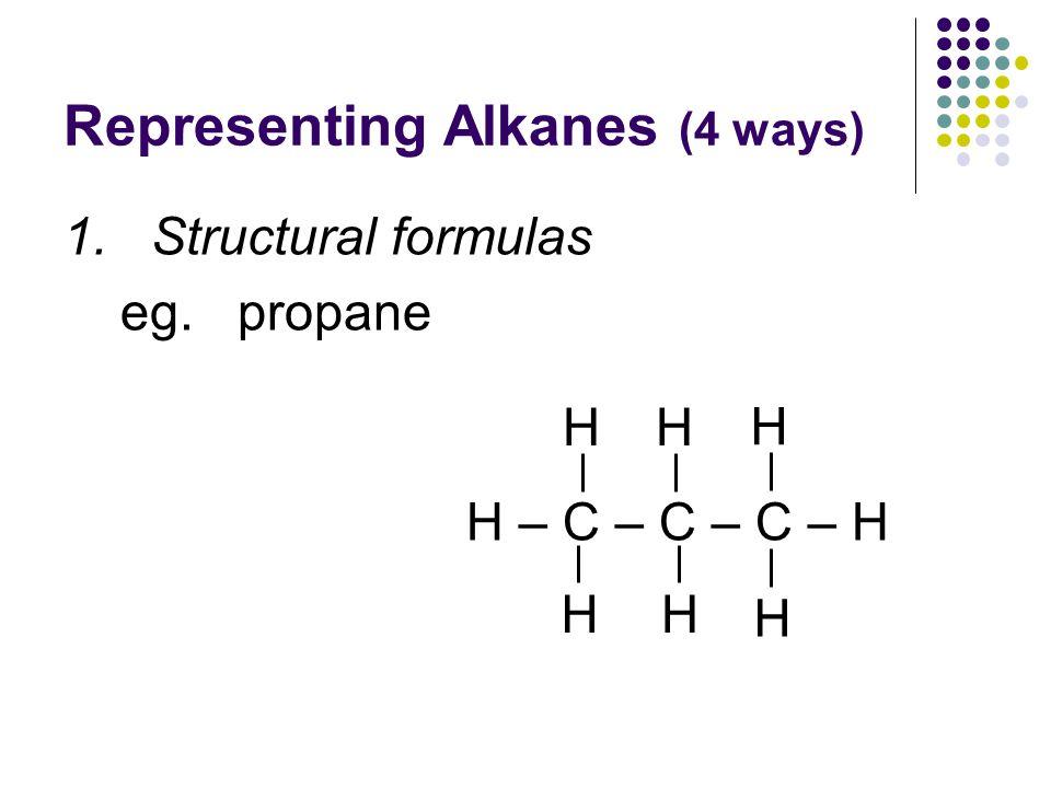Representing Alkanes (4 ways) 1. Structural formulas eg. propane H – C – C – C – H H HH H HH