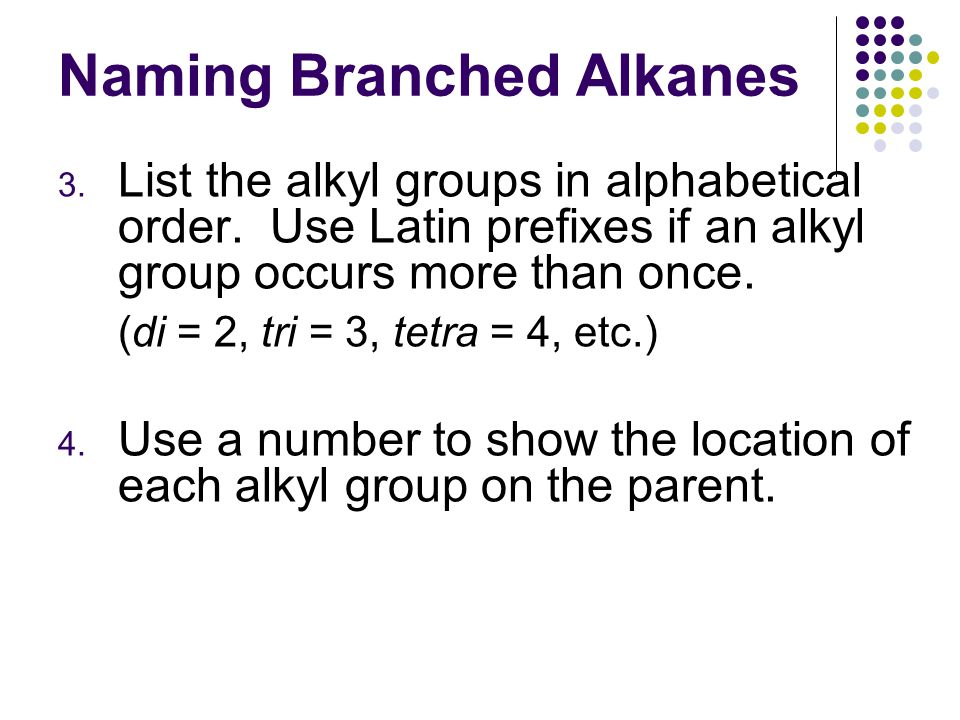 Naming Branched Alkanes 3. List the alkyl groups in alphabetical order.