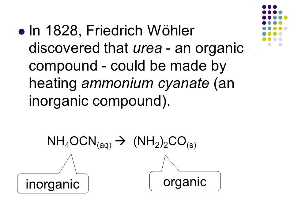 In 1828, Friedrich Wöhler discovered that urea - an organic compound - could be made by heating ammonium cyanate (an inorganic compound).