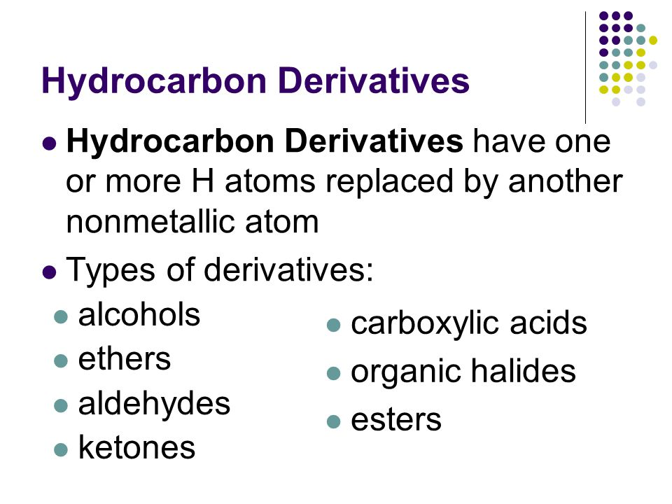 Hydrocarbon Derivatives Hydrocarbon Derivatives have one or more H atoms replaced by another nonmetallic atom Types of derivatives: carboxylic acids organic halides esters alcohols ethers aldehydes ketones