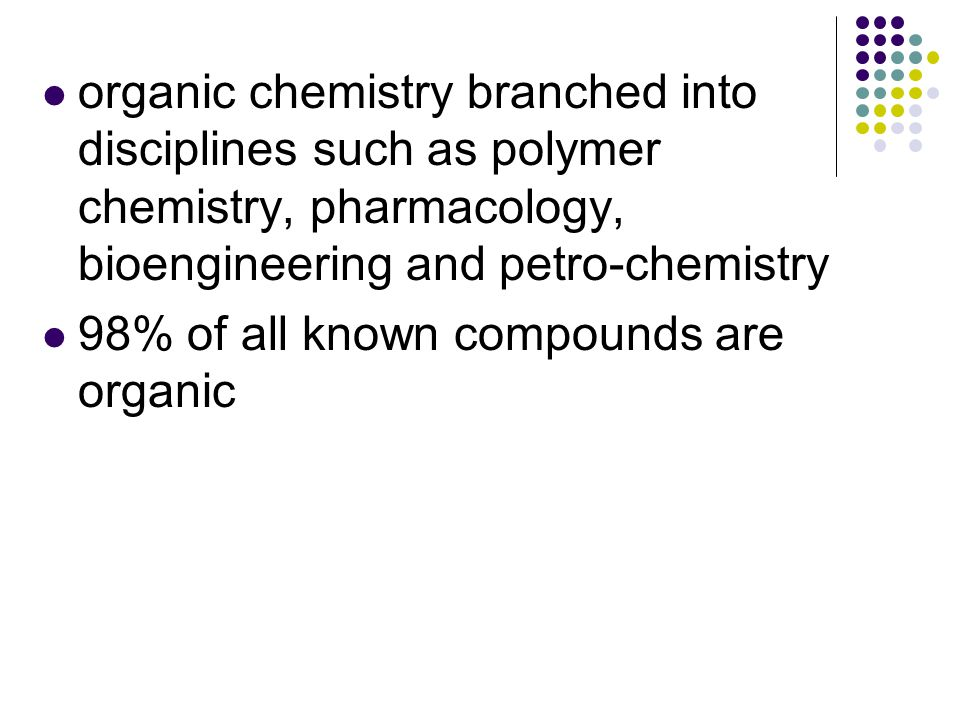 The huge number of organic compounds is due mainly to the ability of carbon atoms to form stable chains, branched chains, rings, branched rings, multiple rings, and multiple bonds (double and triple bonds) to itself and to many other non-metal atoms.
