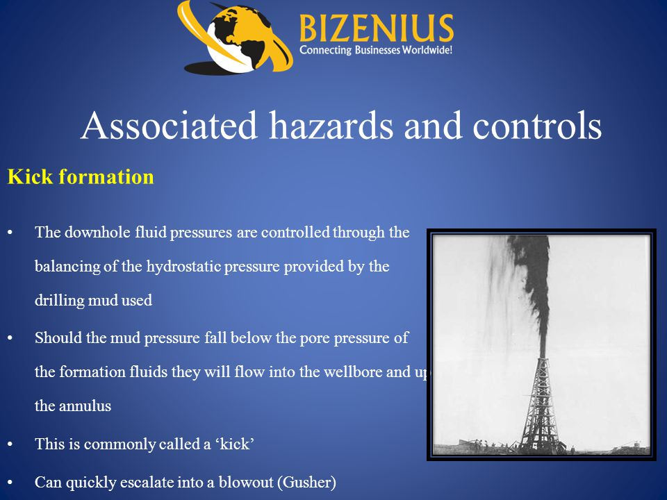 Associated hazards and controls The downhole fluid pressures are controlled through the balancing of the hydrostatic pressure provided by the drilling