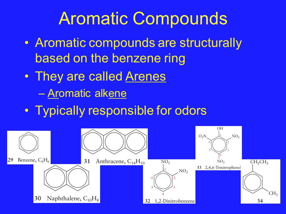Aromatic Compounds Aromatic compounds are structurally based on the benzene ring They are called Arenes –Aromatic alkene Typically responsible for odo