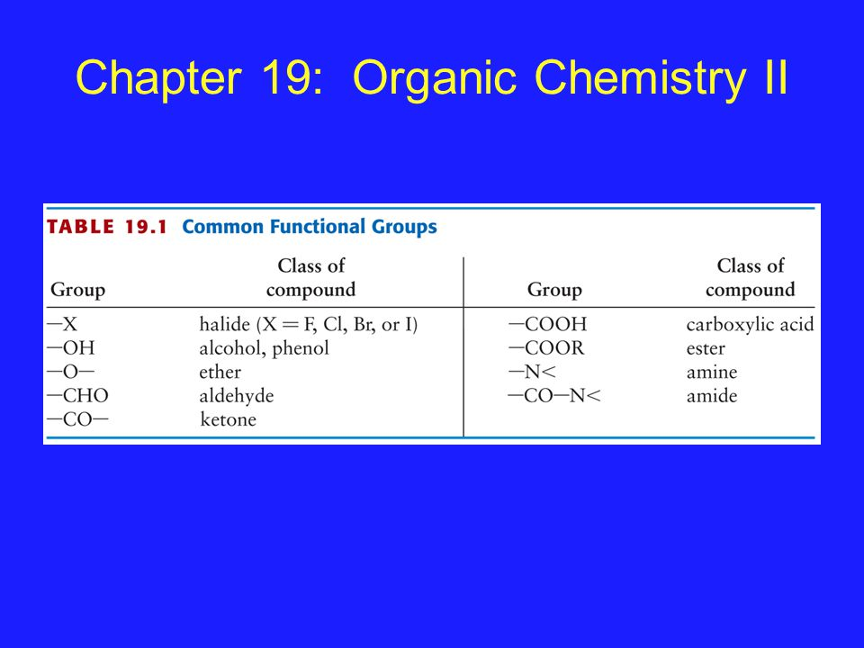 Chapter 19: Organic Chemistry II