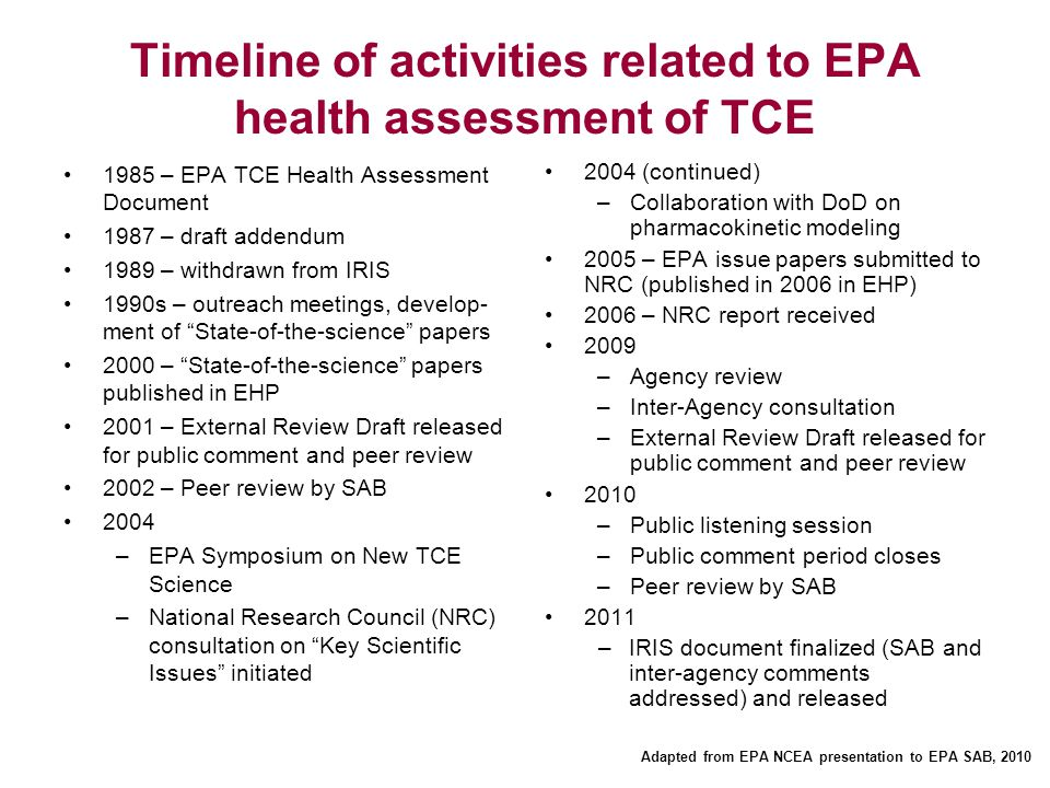 Timeline of activities related to EPA health assessment of TCE 1985 – EPA TCE Health Assessment Document 1987 – draft addendum 1989 – withdrawn from I