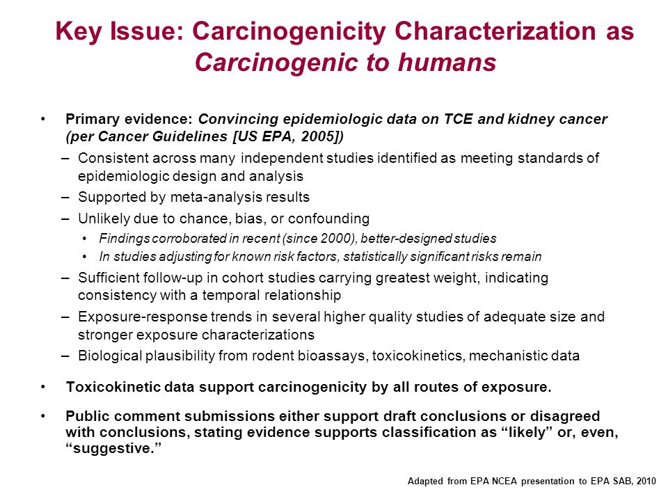 Key Issue: Carcinogenicity Characterization as Carcinogenic to humans Primary evidence: Convincing epidemiologic data on TCE and kidney cancer (per Ca