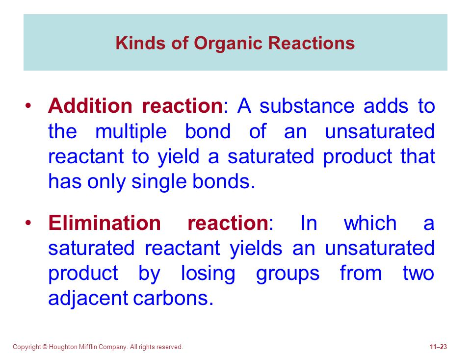 Copyright © Houghton Mifflin Company. All rights reserved.11–23 Kinds of Organic Reactions Addition reaction: A substance adds to the multiple bond of