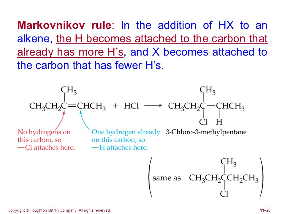 Copyright © Houghton Mifflin Company. All rights reserved.11–29 Markovnikov rule: In the addition of HX to an alkene, the H becomes attached to the ca