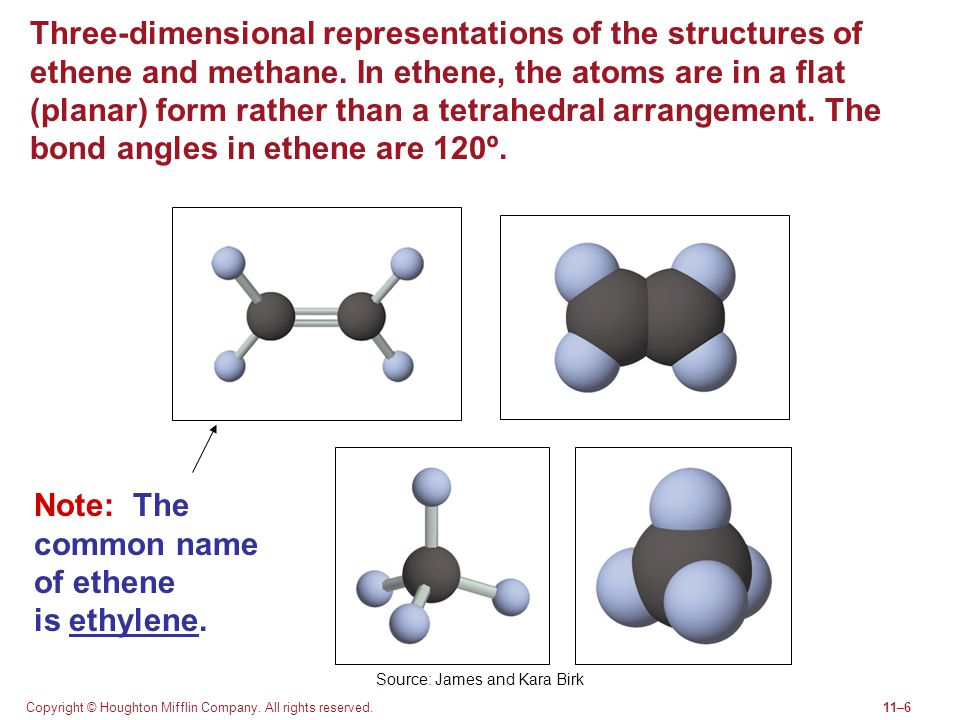 Copyright © Houghton Mifflin Company. All rights reserved.11–6 Three-dimensional representations of the structures of ethene and methane. In ethene, t
