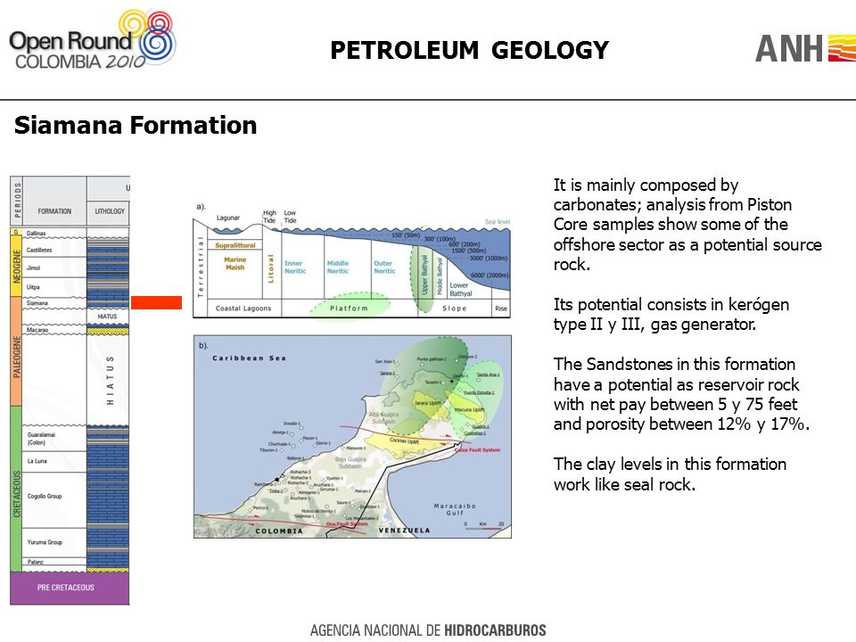 PETROLEUM GEOLOGY Siamana Formation It is mainly composed by carbonates; analysis from Piston Core samples show some of the offshore sector as a poten
