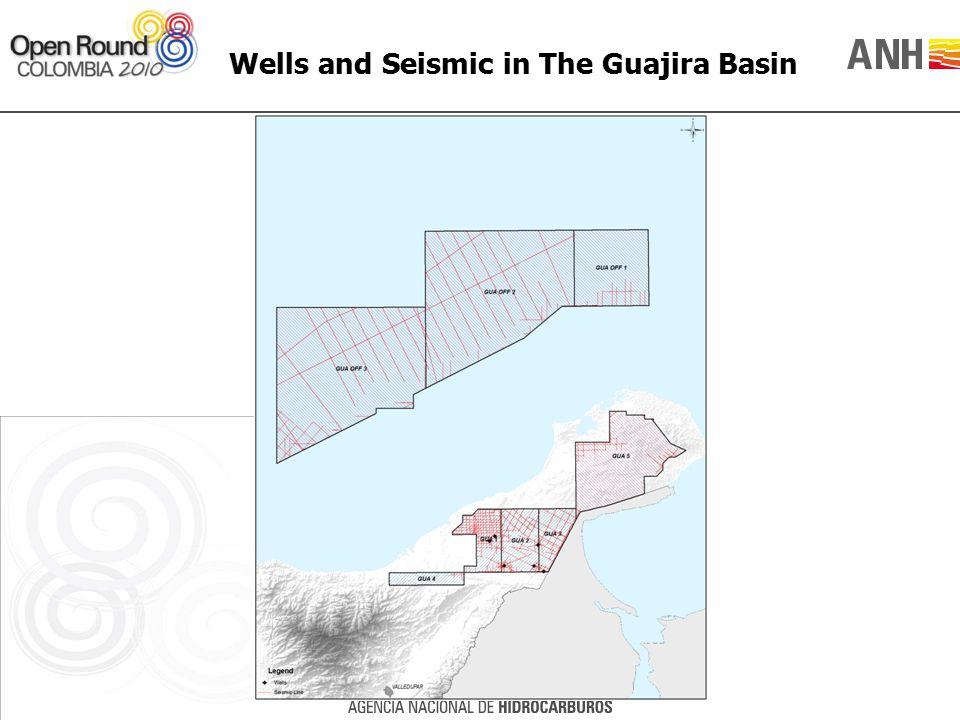 Wells and Seismic in The Guajira Basin