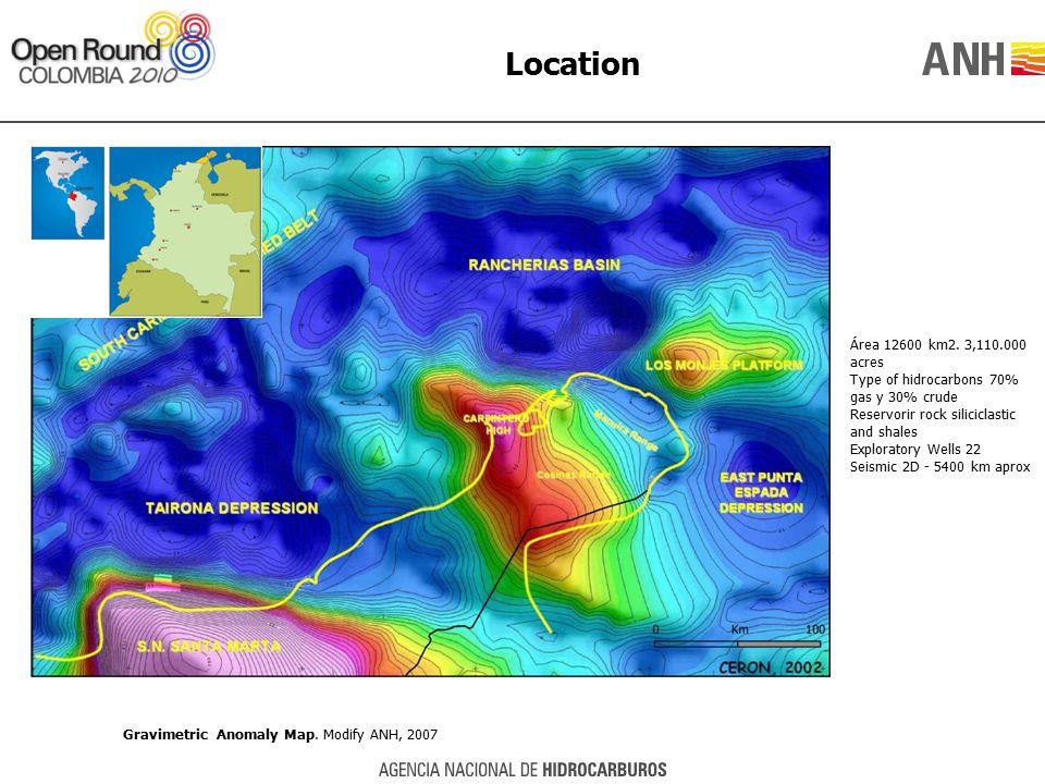 Location Área 12600 km2. 3,110.000 acres Type of hidrocarbons 70% gas y 30% crude Reservorir rock siliciclastic and shales Exploratory Wells 22 Seismi