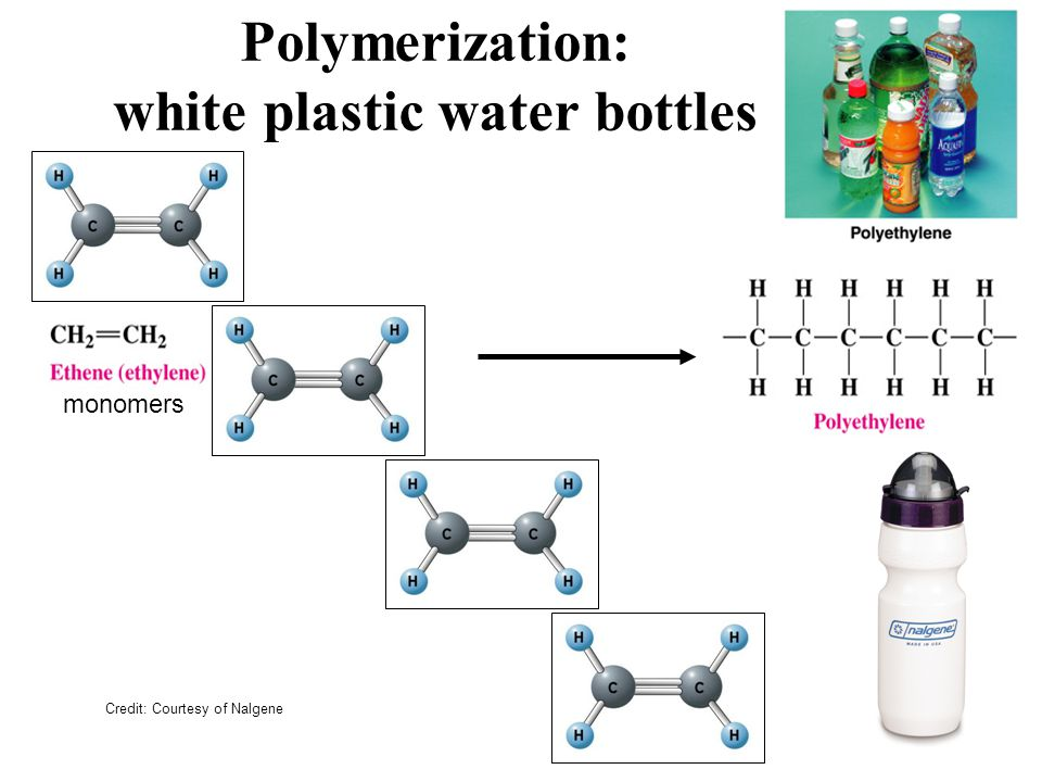 Polymerization: white plastic water bottles Credit: Courtesy of Nalgene monomers