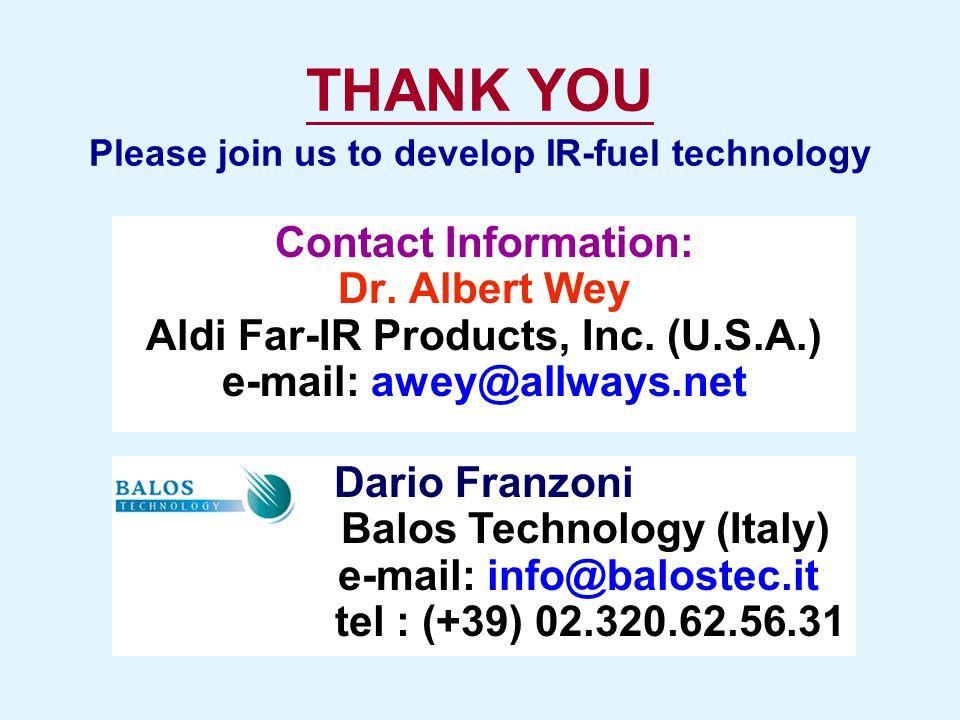 THANK YOU Contact Information: Dr. Albert Wey Aldi Far-IR Products, Inc. (U.S.A.) e-mail: awey@allways.net Dario Franzoni Balos Technology (Italy) e-m