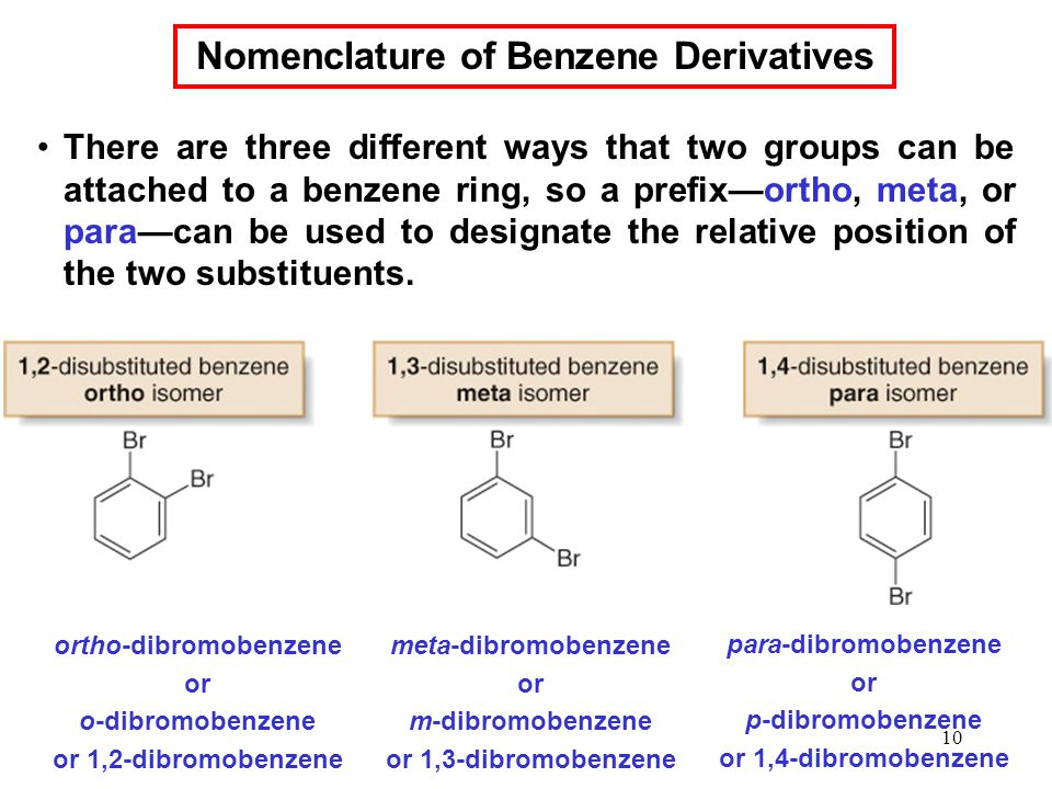 10 There are three different ways that two groups can be attached to a benzene ring, so a prefix—ortho, meta, or para—can be used to designate the relative position of the two substituents.