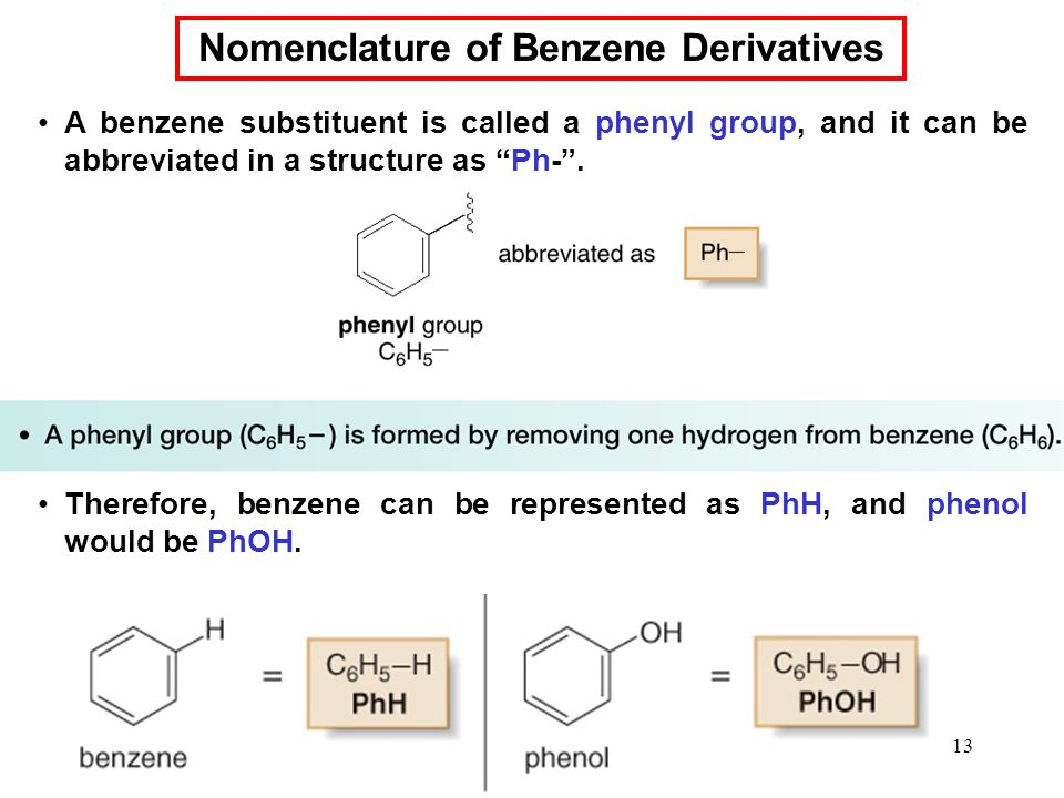 13 A benzene substituent is called a phenyl group, and it can be abbreviated in a structure as Ph- .