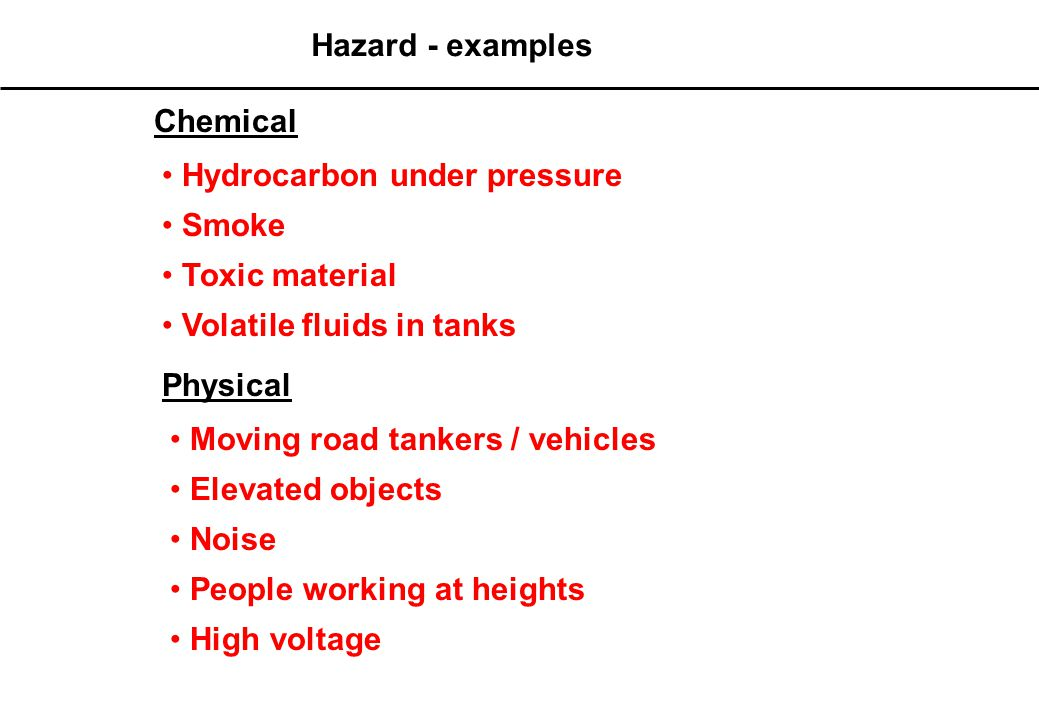 HAZARD - Definition Hazard is defined as: Anything that has the potential to cause harm, ill health and injury, damage to property, products or the environment, production losses or increase liabilities Hazard At workplace categorized: Physical, Chemical, Biological & Physcosocial