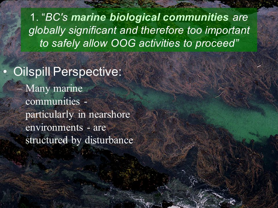 "1. ""BC's marine biological communities are globally significant and therefore too important to safely allow OOG activities to proceed"" Oilspill Perspe"