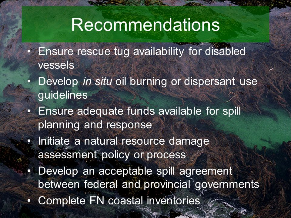 Recommendations Ensure rescue tug availability for disabled vessels Develop in situ oil burning or dispersant use guidelines Ensure adequate funds available for spill planning and response Initiate a natural resource damage assessment policy or process Develop an acceptable spill agreement between federal and provincial governments Complete FN coastal inventories