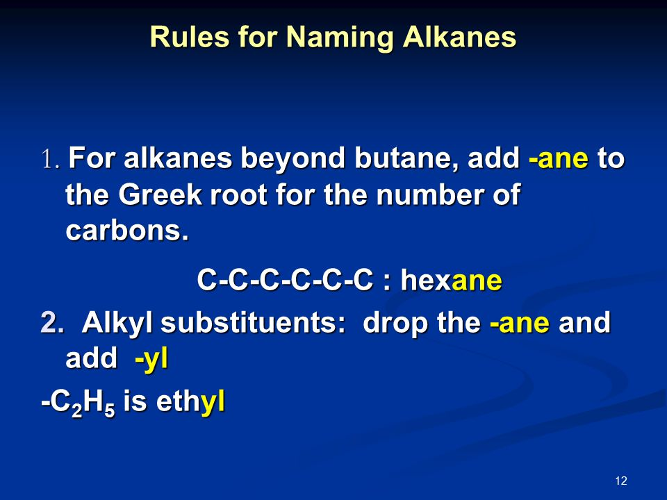 12 Rules for Naming Alkanes 1.