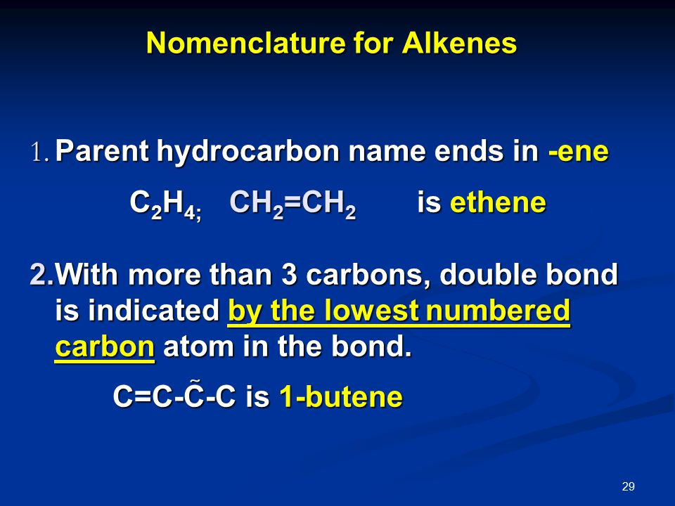 29 Nomenclature for Alkenes 1.