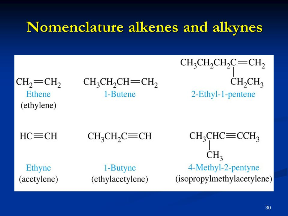 30 Nomenclature alkenes and alkynes