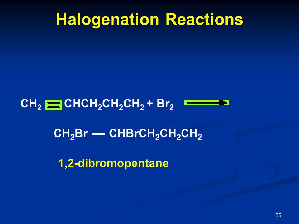 35 Halogenation Reactions CH 2 CHCH 2 CH 2 CH 2 + Br 2 CH 2 Br CHBrCH 2 CH 2 CH 2 1,2-dibromopentane