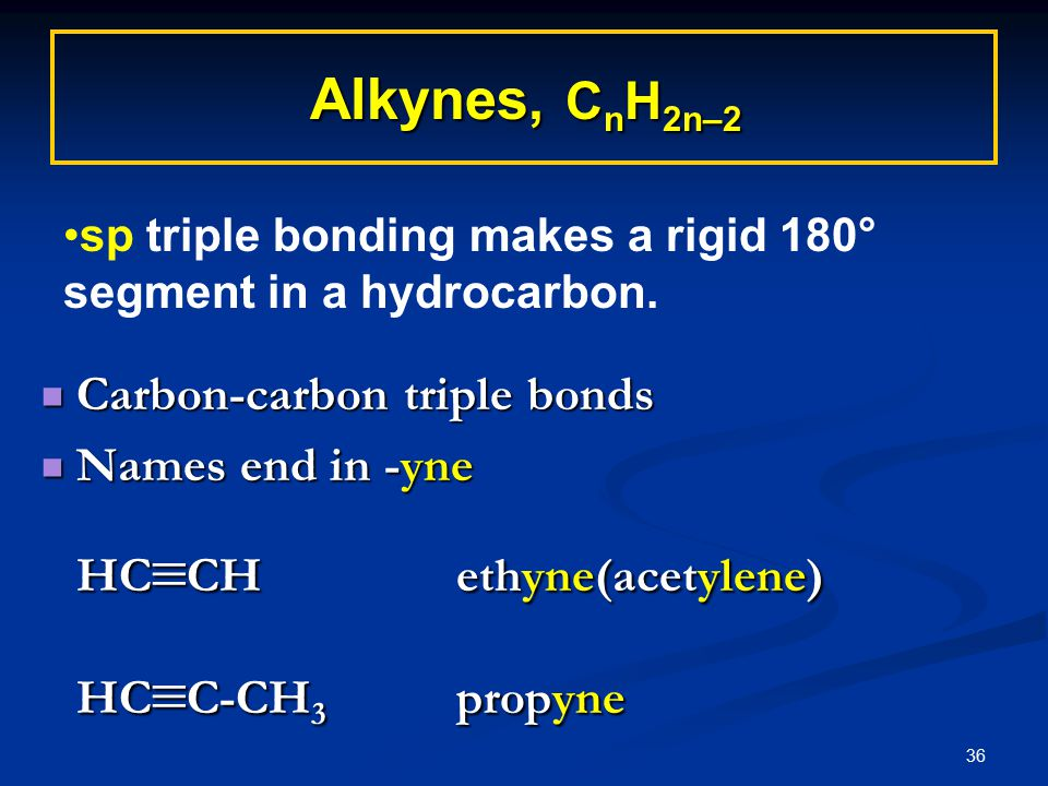 36 Alkynes, C n H 2n–2  Carbon-carbon triple bonds  Names end in -yne HC  CHethyne(acetylene) HC  C-CH 3 propyne sp triple bonding makes a rigid 180° segment in a hydrocarbon.
