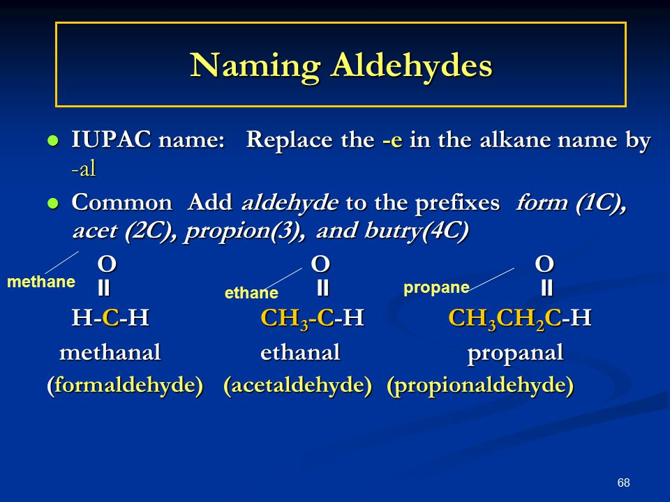 68 Naming Aldehydes IUPAC name: Replace the -e in the alkane name by -al IUPAC name: Replace the -e in the alkane name by -al Common Add aldehyde to the prefixes form (1C), acet (2C), propion(3), and butry(4C) Common Add aldehyde to the prefixes form (1C), acet (2C), propion(3), and butry(4C) O O O O O O       H-C-H CH 3 -C-HCH 3 CH 2 C-H methanal ethanal propanal methanal ethanal propanal (formaldehyde) (acetaldehyde) (propionaldehyde) methane ethane propane