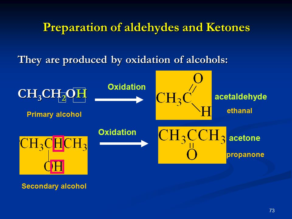 73 Preparation of aldehydes and Ketones They are produced by oxidation of alcohols: CH 3 CH 2 OH Oxidation acetaldehyde acetone Primary alcohol Secondary alcohol ethanal propanone