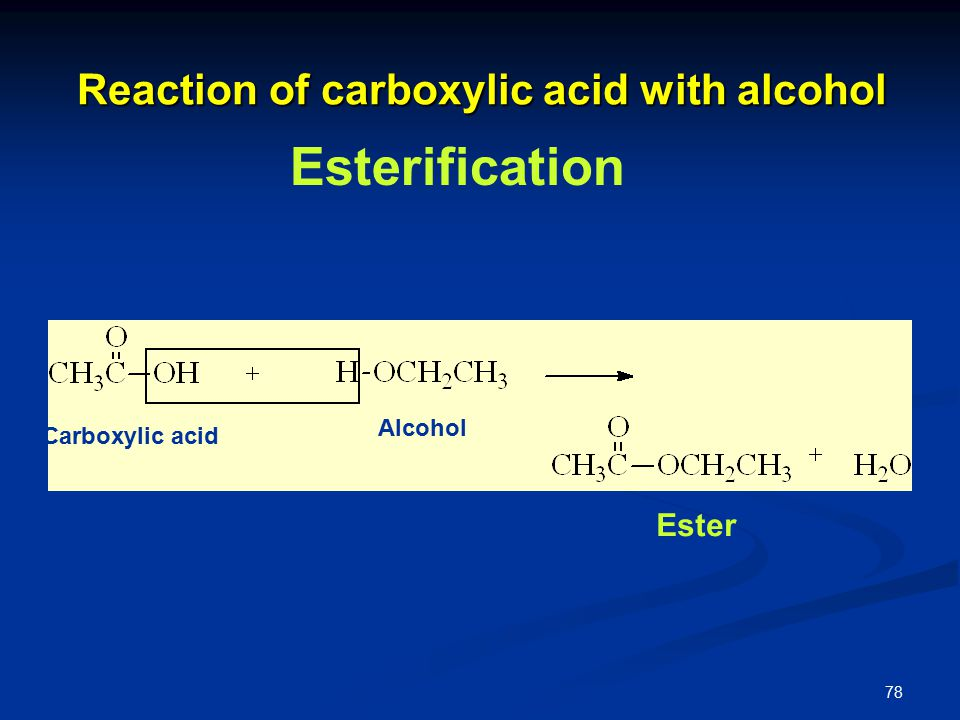 78 Reaction of carboxylic acid with alcohol Ester Carboxylic acid Alcohol Esterification