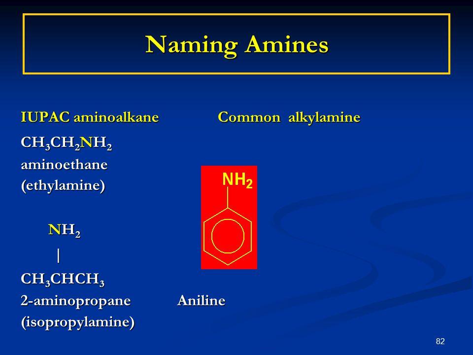 82 Naming Amines IUPAC aminoalkane Common alkylamine CH 3 CH 2 NH 2 aminoethane(ethylamine) NH 2 NH 2 | CH 3 CHCH 3 2-aminopropane Aniline (isopropylamine)