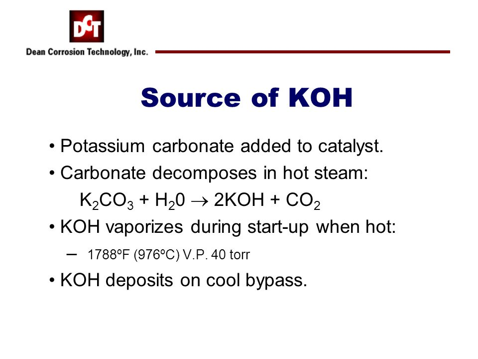 Source of KOH Potassium carbonate added to catalyst.