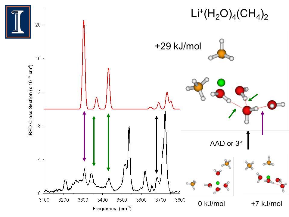 Li + (H 2 O) 4 (CH 4 ) 2 +29 kJ/mol AAD or 3° 0 kJ/mol+7 kJ/mol